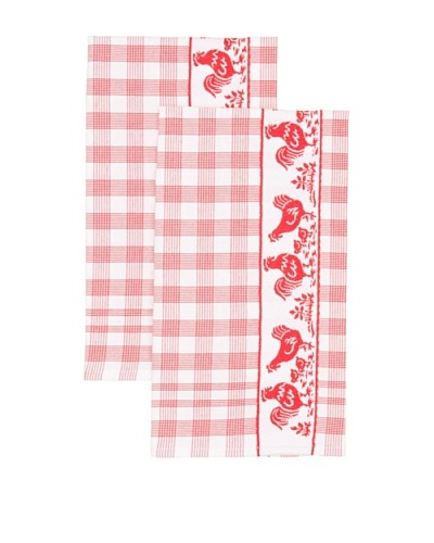 Mierco Fine Linens Set of 2 Chickens Jacquard Tea Towels, White/Red, 20 x 26