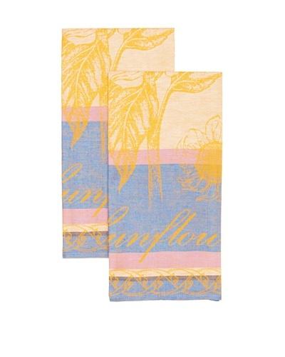 Mierco Fine Linens Set of 2 Sunflowers Jacquard Tea Towels [Blue]