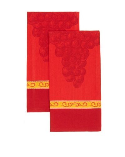 "Mierco Fine Linens Set of 2 Grape Jacquard Tea Towels, Burgundy, 20"" x 28"""