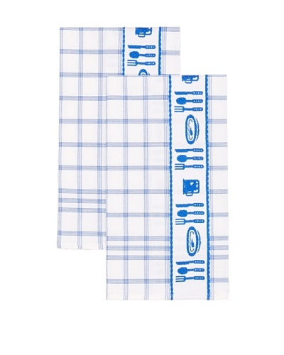 Mierco Fine Linens Set of 2 Cutlery Jacquard Tea Towels, White/Blue, 20 x 26