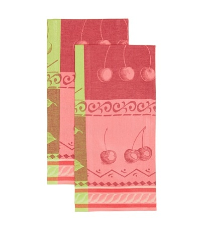 Mierco Fine Linens Set of 2 Cherries Jacquard Tea Towels, Red/Green, 23 x 32