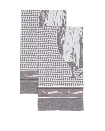 Mierco Fine Linens Set of 2 Rooster Jacquard Tea Towels [Black]