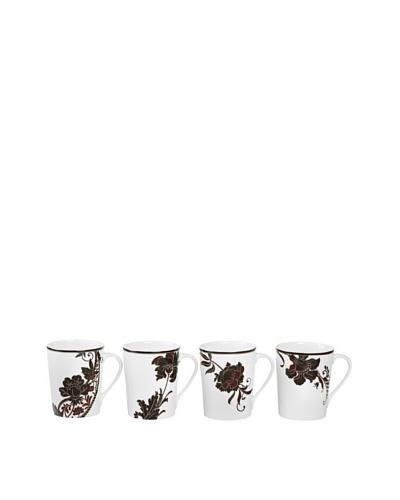 Mikasa Set of 4 Cocoa Blossom 15-Oz. Mugs, White/Dark Brown