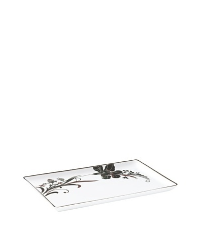 "Mikasa Cocoa Blossom 14"" Rectangular Tray, White/Dark Brown"