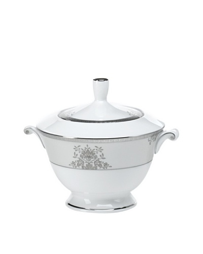 Mikasa Floral Elegance Covered Sugar Bowl, White/Platinum