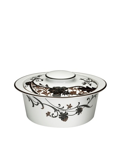 Mikasa Cocoa Blossom Round 2-Qt. Casserole with Lid, White/Dark Brown
