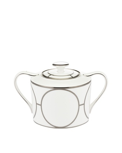 Mikasa Platinum Links Covered Sugar Bowl, Ivory/Platinum