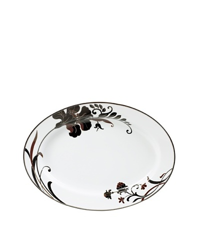 Mikasa Cocoa Blossom Oversize 16 Oval Platter, White/Dark Brown