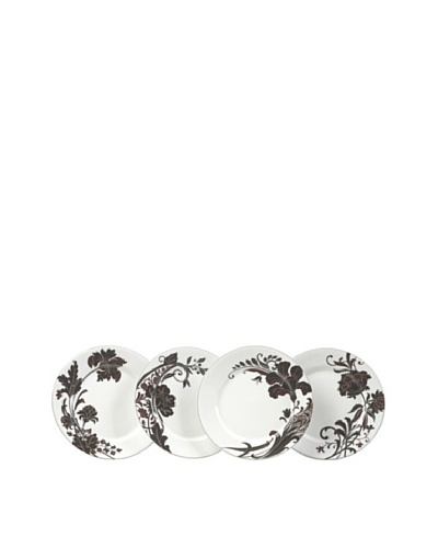Mikasa Set of 4 Cocoa Blossom Accent Plates, White/Dark Brown