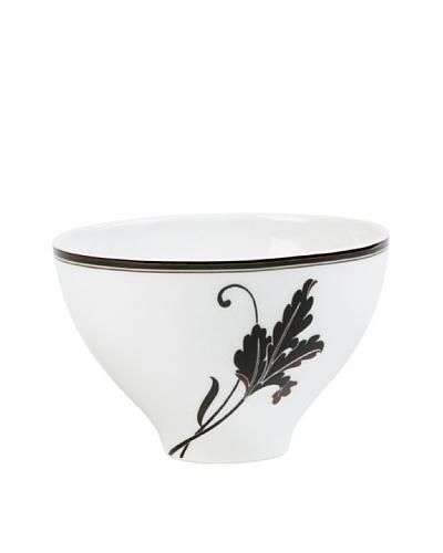 Mikasa Cocoa Blossom Rice Bowl, White/Dark Brown Lily
