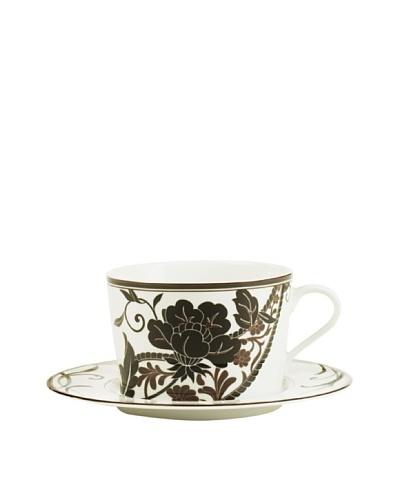 Mikasa Cocoa Blossom 12-Oz. Cappuccino Cup & Saucer Set, White/Dark Brown