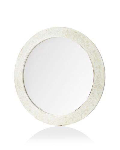 Mili Designs Round Black Bone Inlay Mirror, White/White