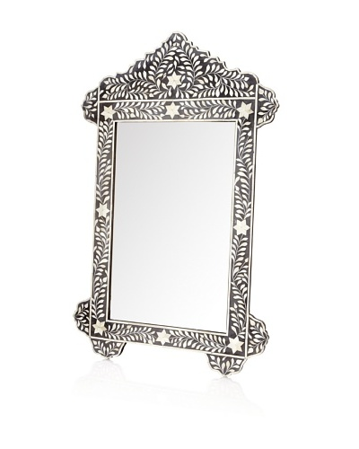 Mili Designs Style Mother of Pearl & Bone Mirror, Black