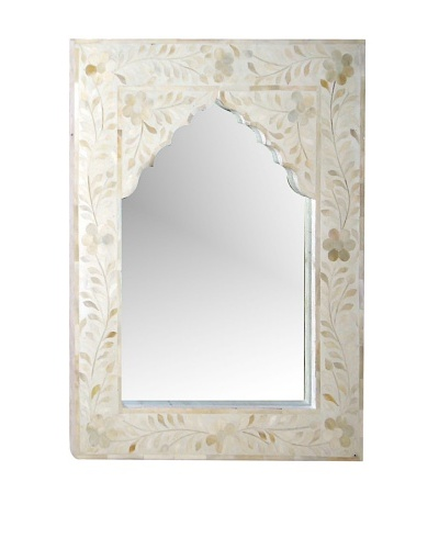 Mili Designs Small Arch Bone Inlay Mirror, White/White