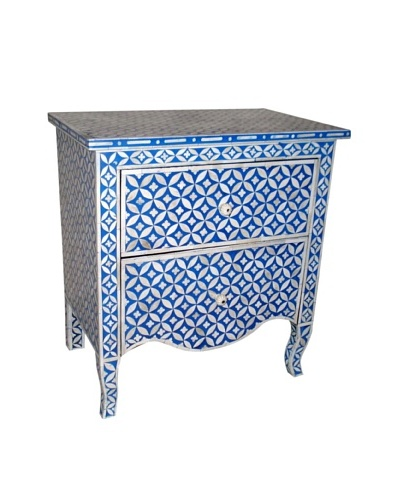 Mili Designs 2 Drawers Geo Design Mother of Pearl Inlay Bedside, Blue/Cream