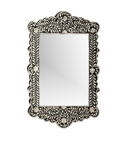 Mili Designs Black Bone Inlay Mirror, Black
