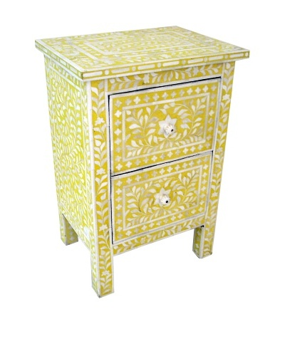 Mili Designs 2 Drawers Bone Inlay Bedside, Mustard/Cream