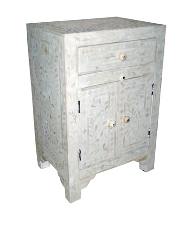 Mili Designs 1 Drawer 2 Doors Bone Inlay Bedside, White/White