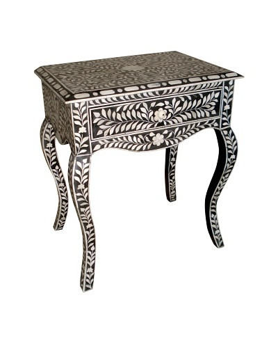 Mili Designs 1 Drawer French Style Bone Inlay Bedside, Black/Cream