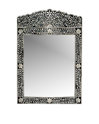 Mili Designs Crown Bone Inlay Mirror, Black