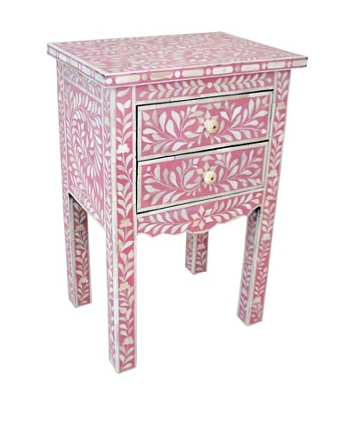 Mili Designs 2 Drawers Bone Inlay French Bedside, Pink/Cream