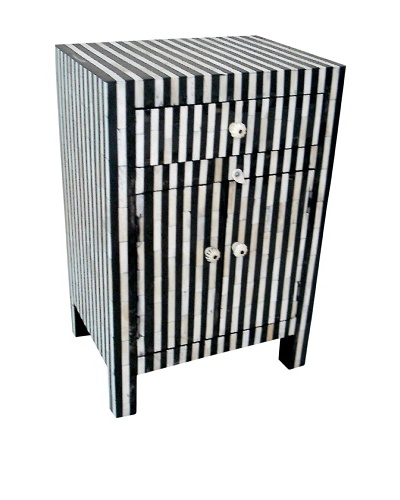 Mili Designs 1 Drawer 2 Doors Striped Bone Inlay Bedside, Black/Cream