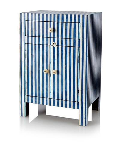 Mili Designs 1 Drawer 2 Doors Striped Bone Inlay Bedside, Blue/Cream