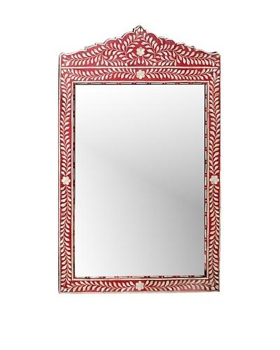 Mili Designs Overlay Bone Inlay Big Mirror, Red
