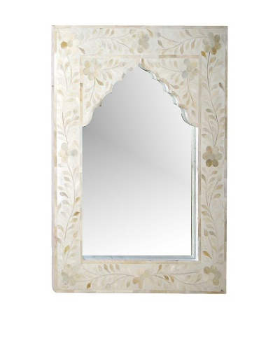Mili Designs Arch Bone Inlay Mirror, White/White