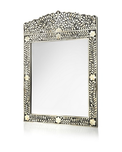 Mili Designs Overlay Bone Inlay Mirror, Black