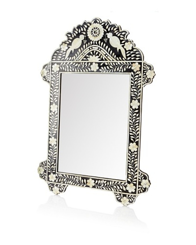 Mili Designs Bird Design Mother of Pearl Mirror, Black