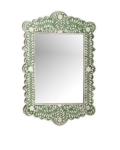 Mili Designs Green Bone Inlay Mirror, Green