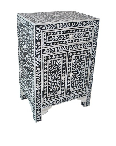 Mili Designs 1 Drawer 2 Doors Bone Inlay Bedside, Black/Cream