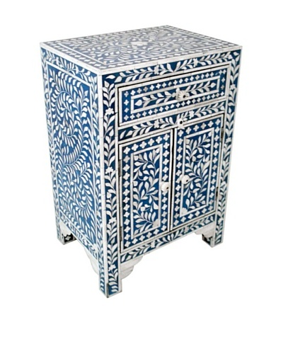 Mili Designs 1 Drawer 2 Doors Bone Inlay Bedside, Blue/Cream