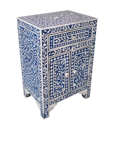 Mili Designs 1 Drawer 2 Doors Mother of Pearl Inlay Bedside, Blue/Cream