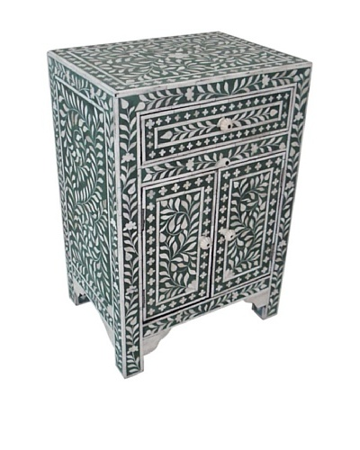 Mili Designs 1 Drawer 2 Doors Mother of Pearl Inlay Bedside, Green/Cream