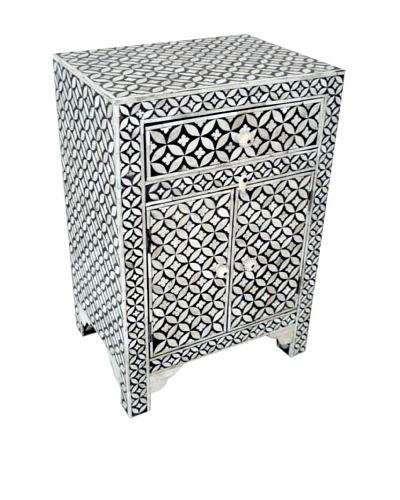 Mili Designs 1 Drawer 2 Doors Geo Design Bone Inlay Bedside, Black/Cream