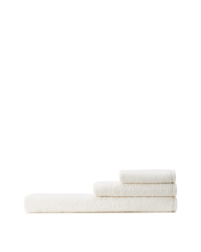 Mili Designs NYC Basic Towel Set with Contrast Border, Ivory/Ivory