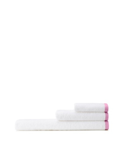 Mili Designs NYC Basic Towel Set with Contrast Border, White/Pink