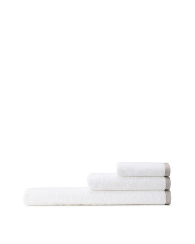 Mili Designs NYC Basic Towel Set with Contrast Border, White/Light Grey