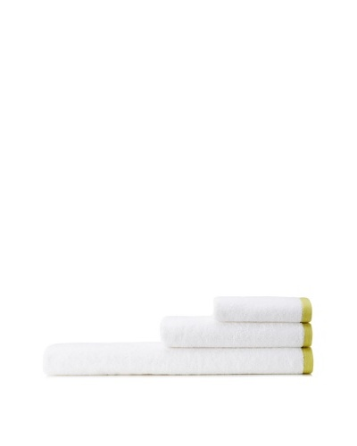 Mili Designs NYC Basic Towel Set with Contrast Border, White/Pistachio