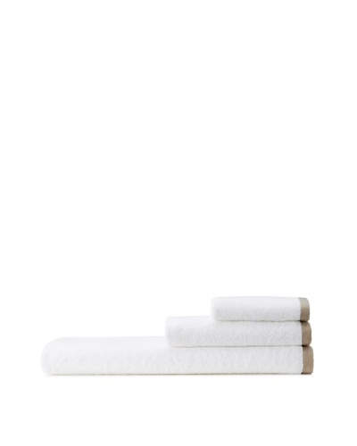 Mili Designs NYC Basic Towel Set with Contrast Border, White/Beige