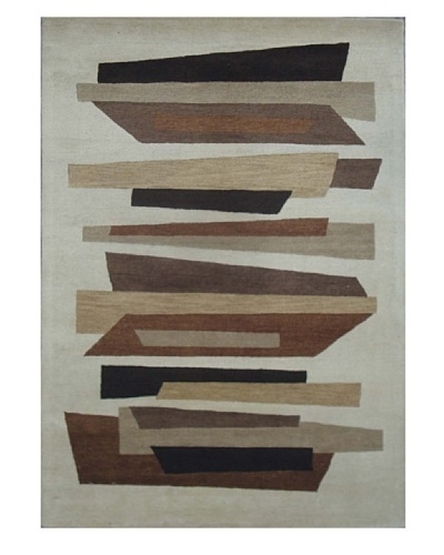 Mili Designs NYC Wood Patterned Rug, Tan/Multi, 5' x 8'