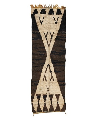 "Mili Designs NYC Boucherouite Rug, Brown/Cream, 2' x 6' 2"" Runner"