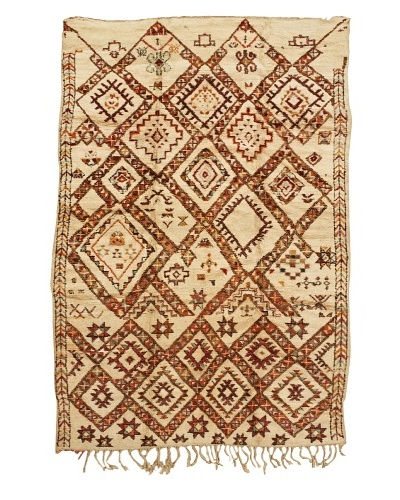 "Mili Designs NYC Moroccan Beni Ourain, Cream/Orange/Red, 6' 1"" x 9' 2"""