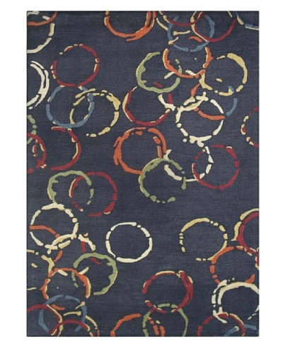 Mili Designs NYC Water Patterned Rug, Blue/Multi, 5' x 8'