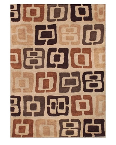 Mili Designs NYC Stamp Patterned Rug, Tan/Multi, 5' x 8'