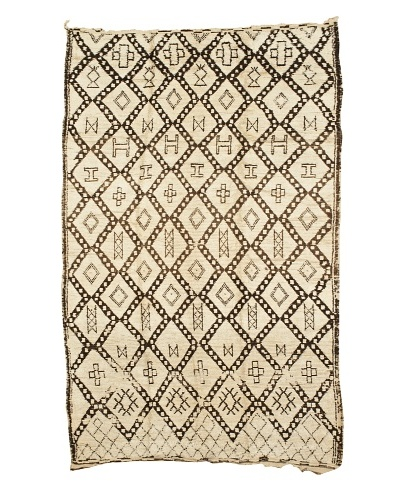 "Mili Designs NYC Moroccan Beni Ourain, Ivory/Brown, 5' 1"" x 9' 1"""