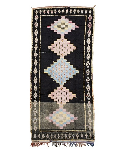Mili Designs NYC Boucherouite Rug, Pink/Black, 4' 5 x 10' Runner