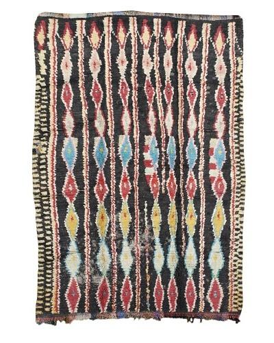 "Mili Designs NYC Boucherouite Rug, Grey/Red/Blue, 5' 5"" x 8' 2"""